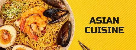 Asian Cuisine Dish with Noodles Facebook cover Modelo de Design