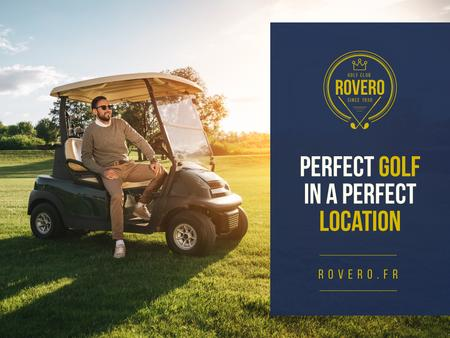 Plantilla de diseño de Golf Club Ad with Man in Golf Car Presentation