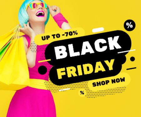 Girl holding Bags at Black Friday Sale  Large Rectangle – шаблон для дизайна