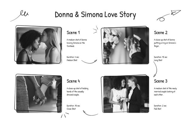 Love Story of Married Couple Storyboard Design Template