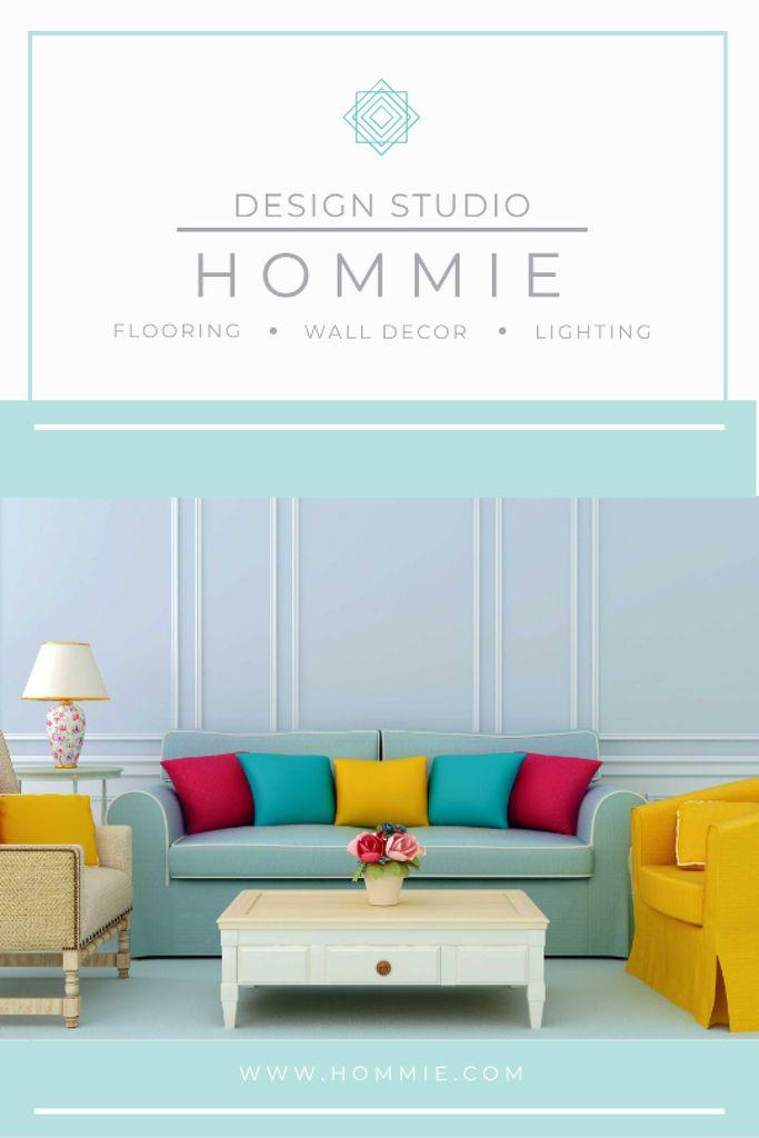 Home Design Ad Cozy Interior in Blue Tumblr Design Template