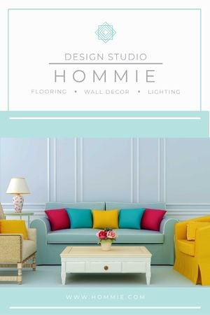 Home Design Ad Cozy Interior in Blue Tumblrデザインテンプレート