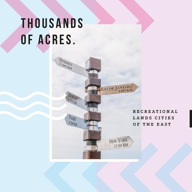 Travelling inspiration with road sign Instagram AD Design Template