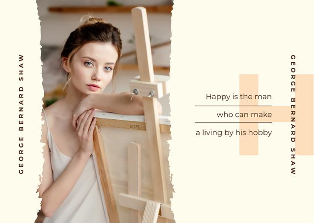 Creative girl by easel Postcard Modelo de Design