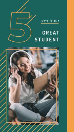Young woman in headphones reading book Instagram Story Modelo de Design