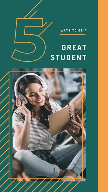 Young woman in headphones reading book Instagram Story Design Template