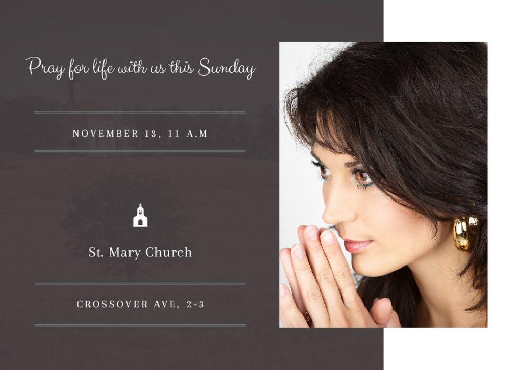 Template di design Church invitation with Woman Praying Postcard