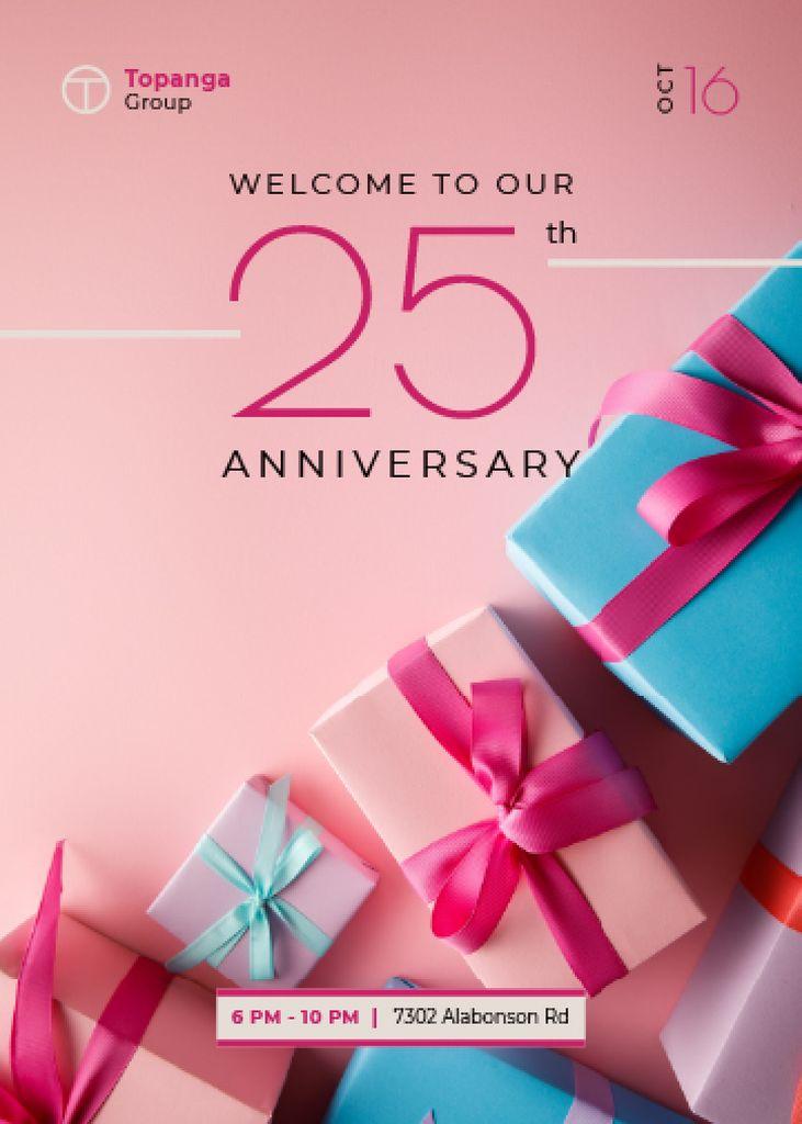Anniversary Celebration Announcement Gift Boxes in Pink — Maak een ontwerp