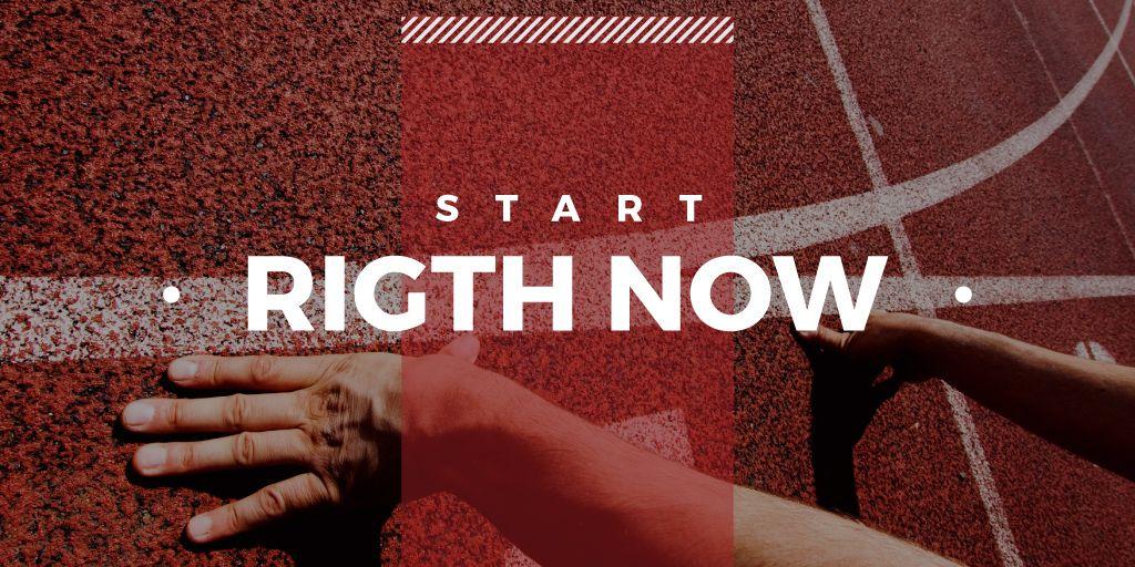 Male runner hands on start line —デザインを作成する