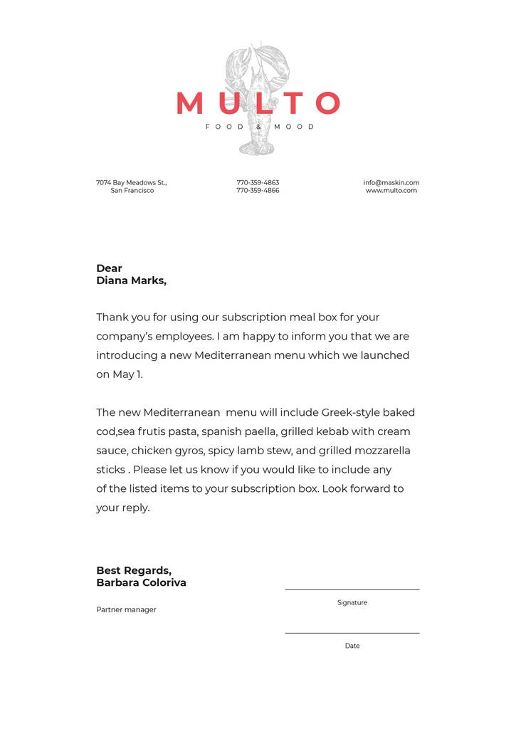 Catering company new Menu announcement Letterhead Design Template