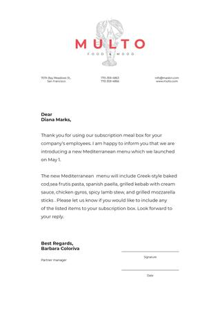 Designvorlage Catering company new Menu announcement für Letterhead