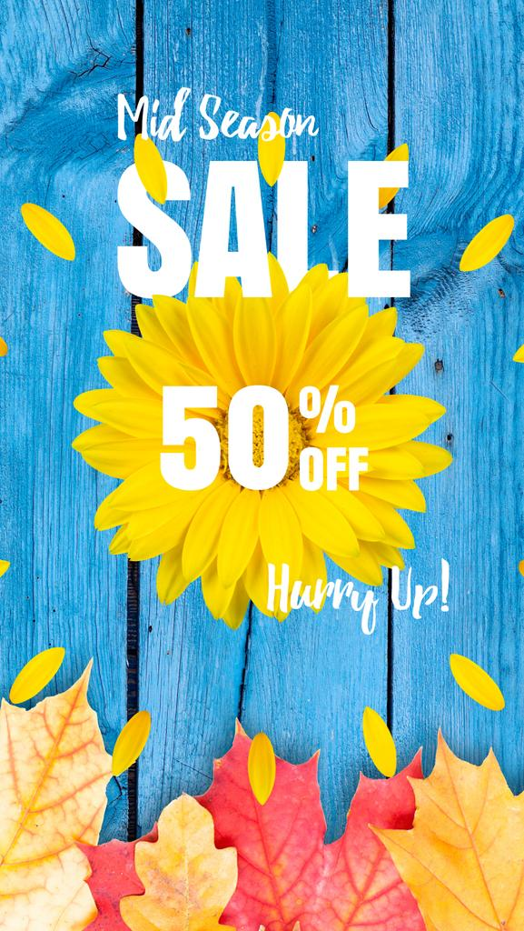 Autumn Sale Announcement Sunflower and Leaves | Vertical Video Template — Maak een ontwerp