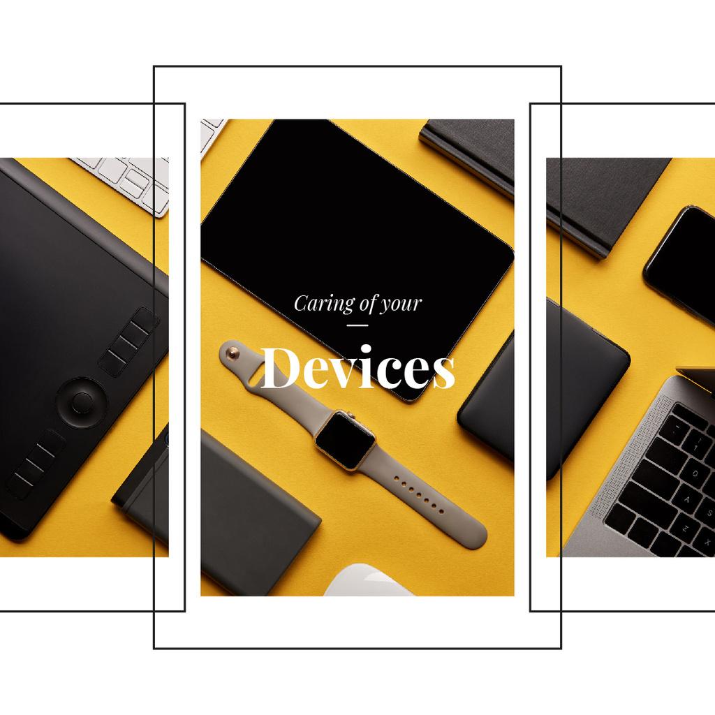 Smart Watch and Digital Devices in Yellow | Instagram Ad Template — ein Design erstellen