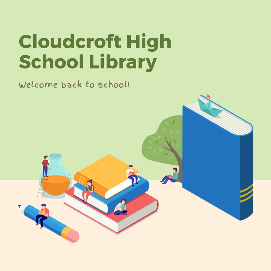 Students studying with books — ein Design erstellen