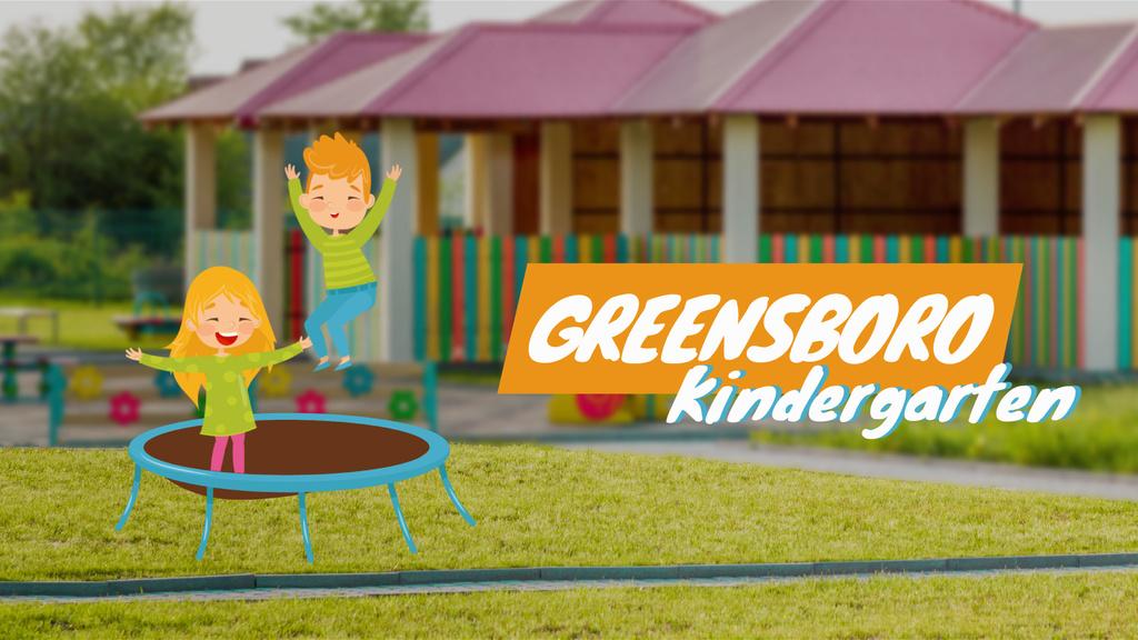 Kindergarten Ad Children Jumping on Trampoline — Créer un visuel