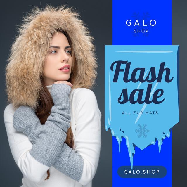 Fashion Sale Woman in Fur Hood Instagram Design Template