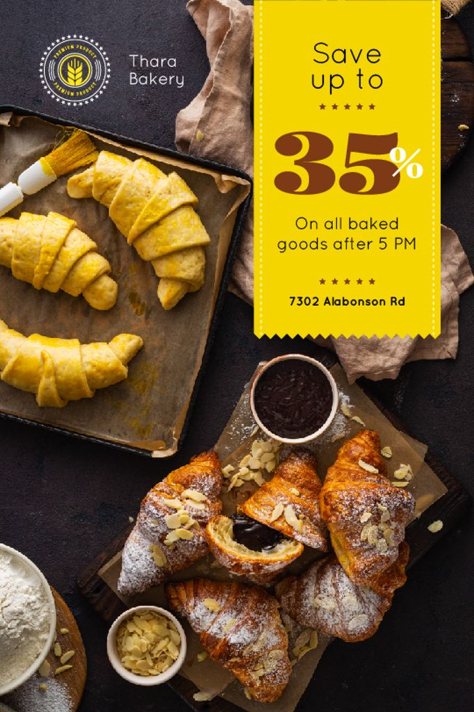 Bakery Offer Fresh Croissants on Table Tumblr Modelo de Design