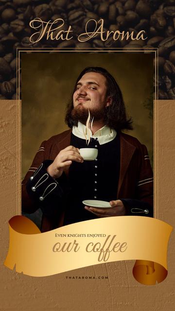 Ontwerpsjabloon van Instagram Video Story van Man in Medieval Costume holding Coffee cup
