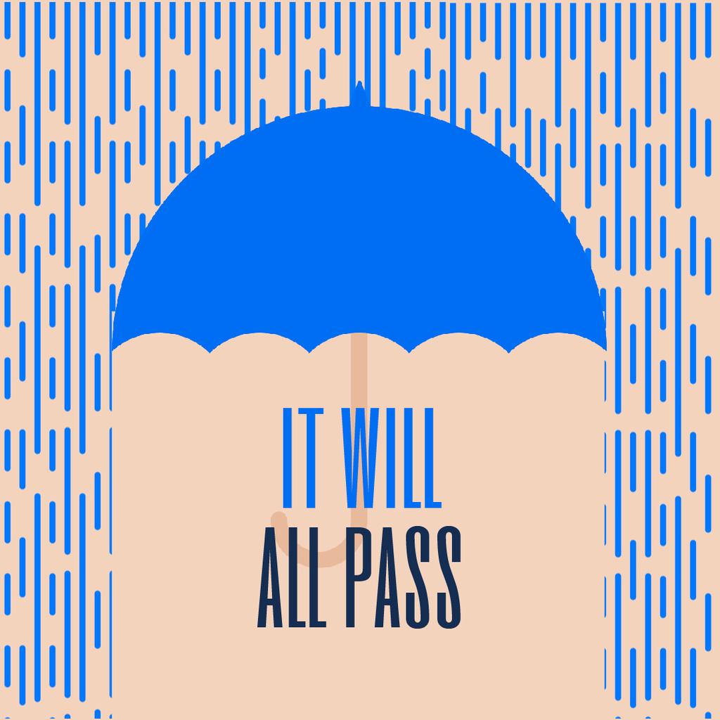 Blue Umbrella Under Falling Rain — Maak een ontwerp