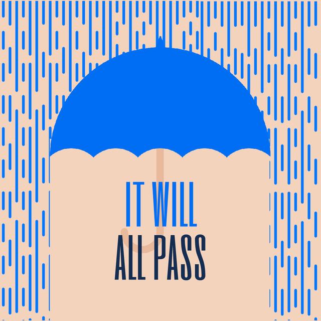 Blue Umbrella Under Falling Rain Animated Post Design Template