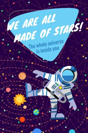 Plantilla de diseño de Motivational quote with Spaceman Pinterest