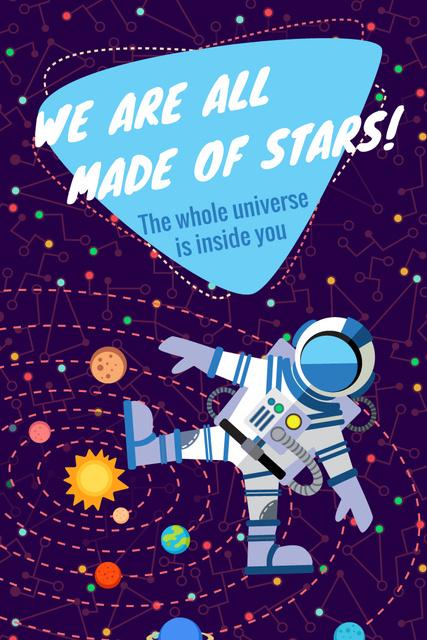 Motivational quote with Spaceman Pinterest – шаблон для дизайну