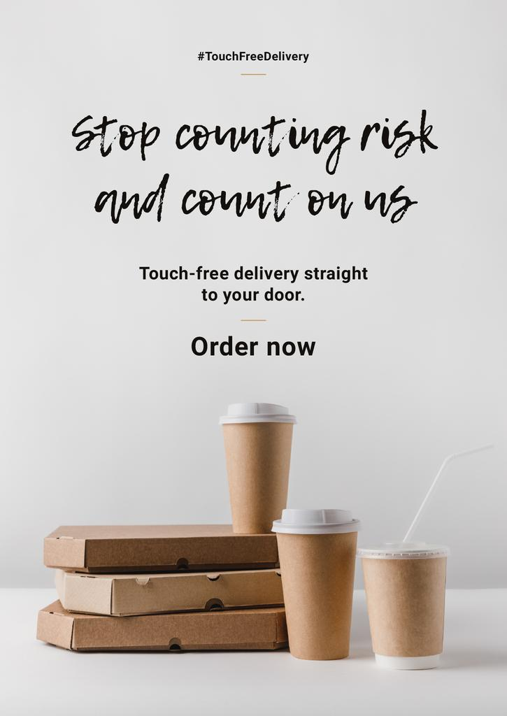 #TouchFreeDelivery Services offer with Food and Coffee in boxes — ein Design erstellen