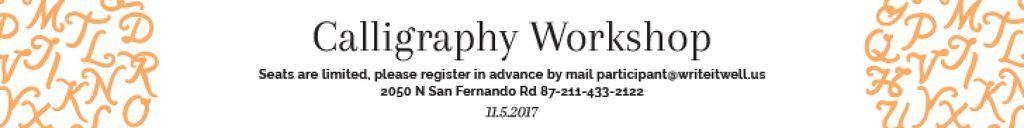Calligraphy Workshop Announcement Letters on White Leaderboard – шаблон для дизайну