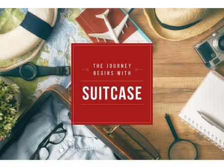 Plantilla de diseño de Travel Quote with Journey Kit Presentation