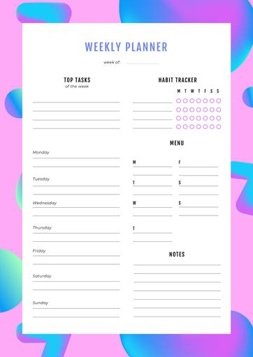 Weekly Planner On Pink Abstraction