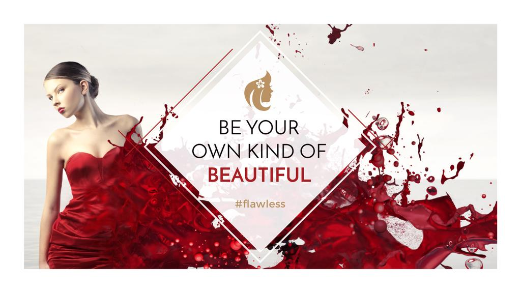 Citation about beauty with Girl in ed Dress — Crear un diseño