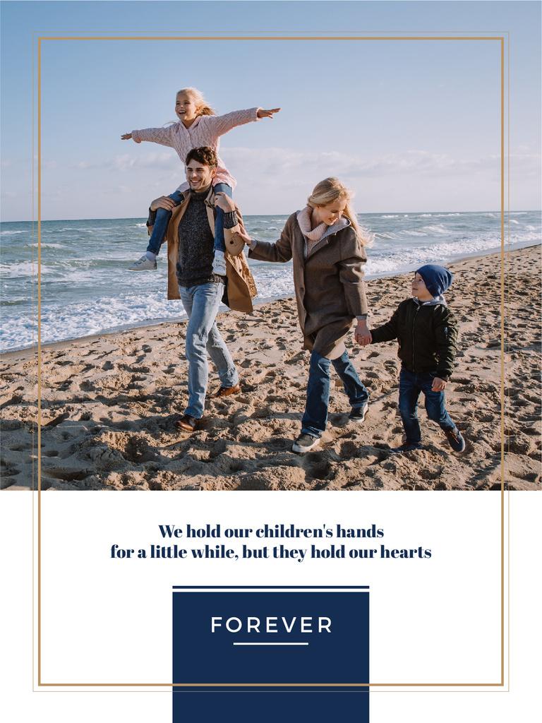 Plantilla de diseño de Parents with Kids having fun at seacoast Poster US