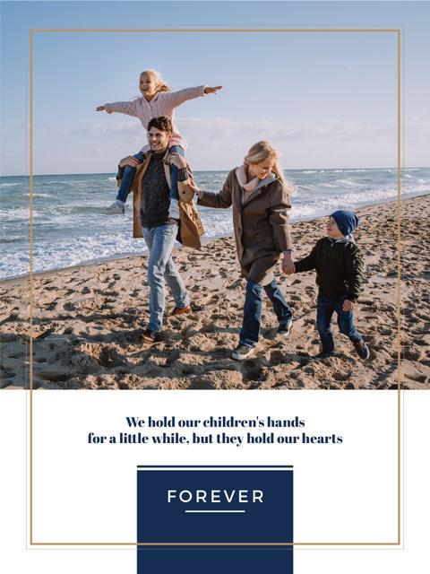 Modèle de visuel Parents with Kids having fun at seacoast - Poster US