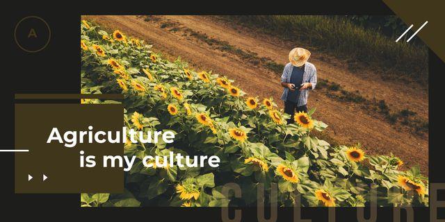 Plantilla de diseño de Farmer working in field Image