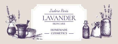 Ontwerpsjabloon van Facebook cover van Homemade Cosmetics Ad with Purple Lavender