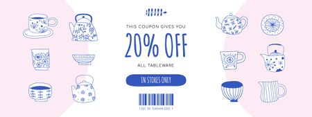 Plantilla de diseño de Discount Offer on Tableware Coupon