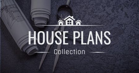 House plans collection with blueprints Facebook AD Modelo de Design