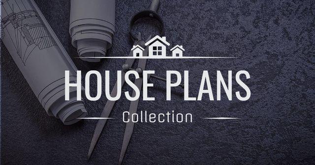 Plantilla de diseño de House plans collection with blueprints Facebook AD