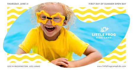 Ontwerpsjabloon van Facebook AD van First day of summer with Happy Kid in pool
