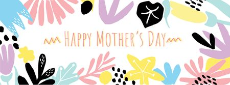 Happy Mother's Day Greeting with Flowers illustrations Facebook cover Design Template