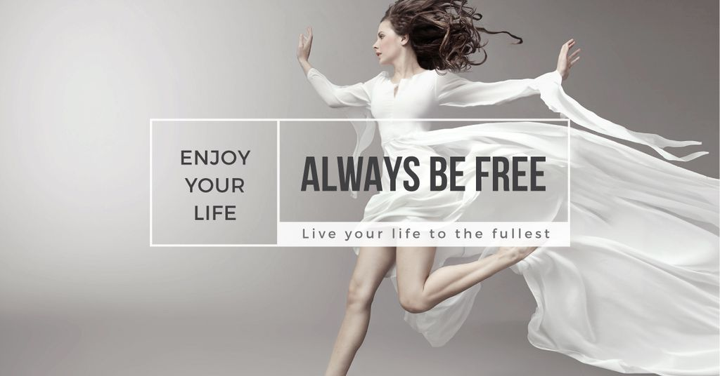 Modèle de visuel Beautiful young woman in white dress - Facebook AD