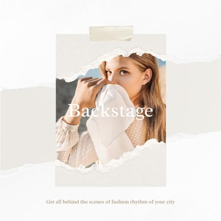 Fashion ad Elegant Woman in White Clothes Instagram Design Template