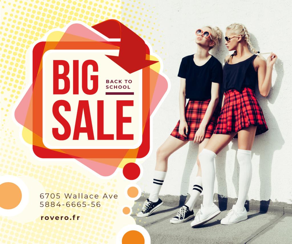 Back to School Sale Girls in Uniform — Crea un design