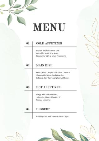 Course dishes in elegant style Menu Design Template