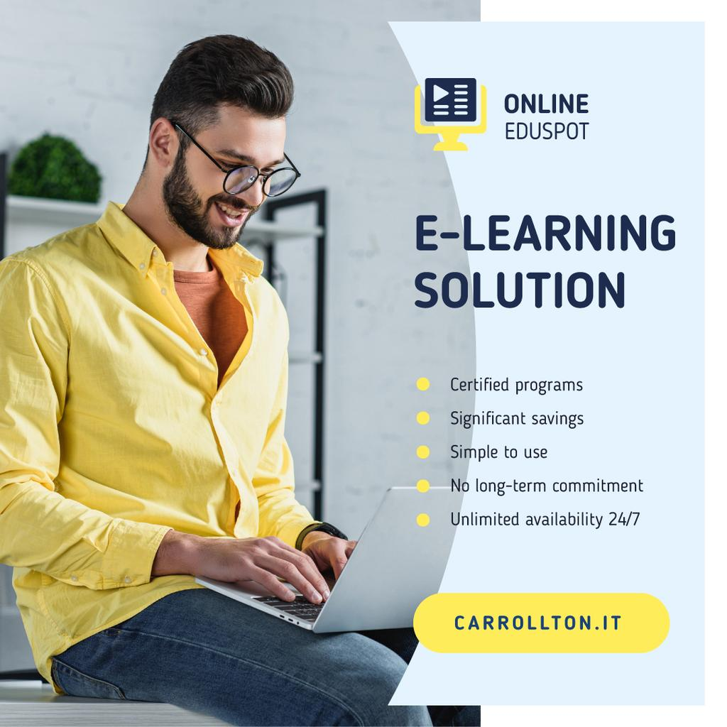 Online Courses Ad Man Typing on Laptop | Instagram Ad Template — Створити дизайн