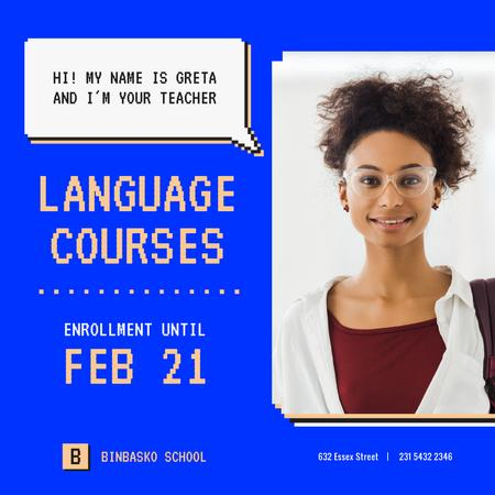 Modèle de visuel Language Courses Smiling Teacher in Glasses - Instagram