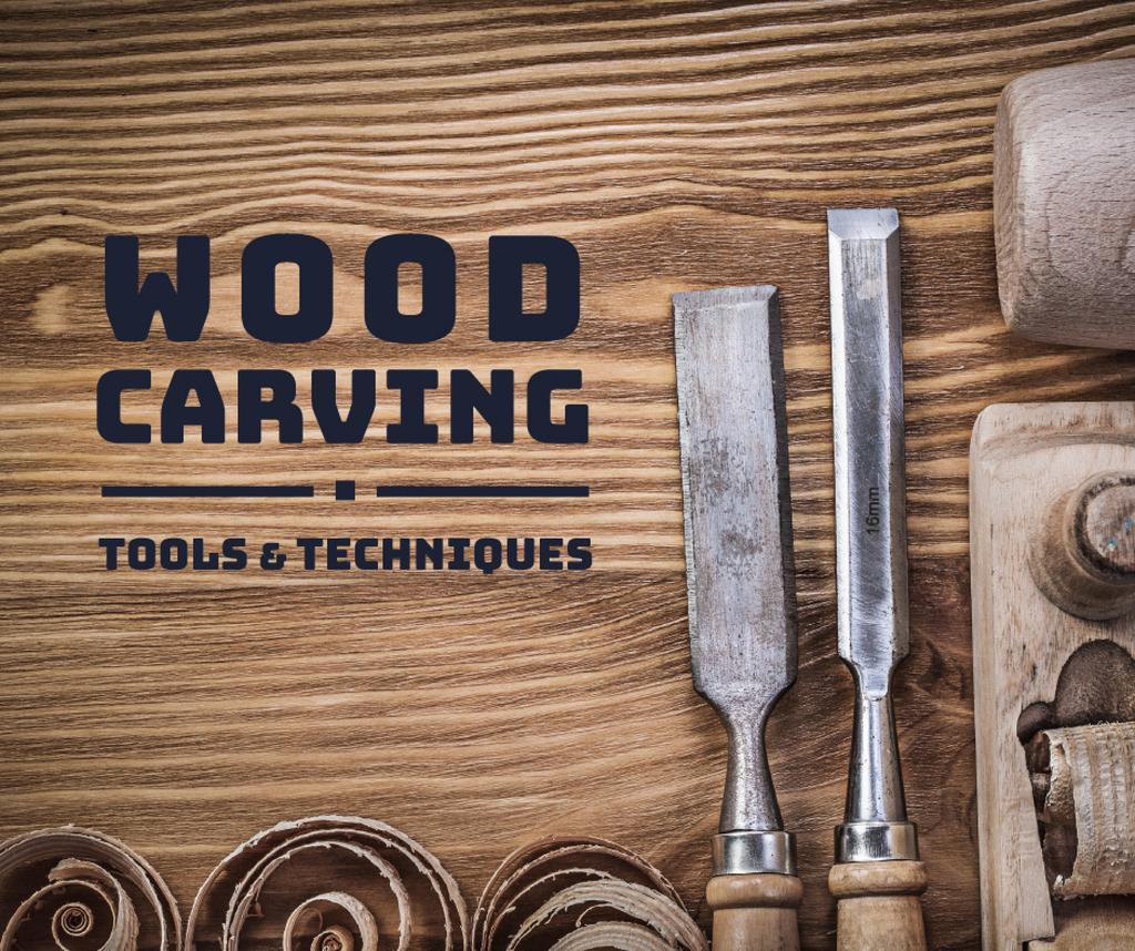 Wood carving tools and techniques poster — Modelo de projeto