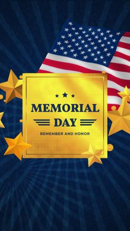 USA Memorial Day waving Flag Instagram Video Story Modelo de Design