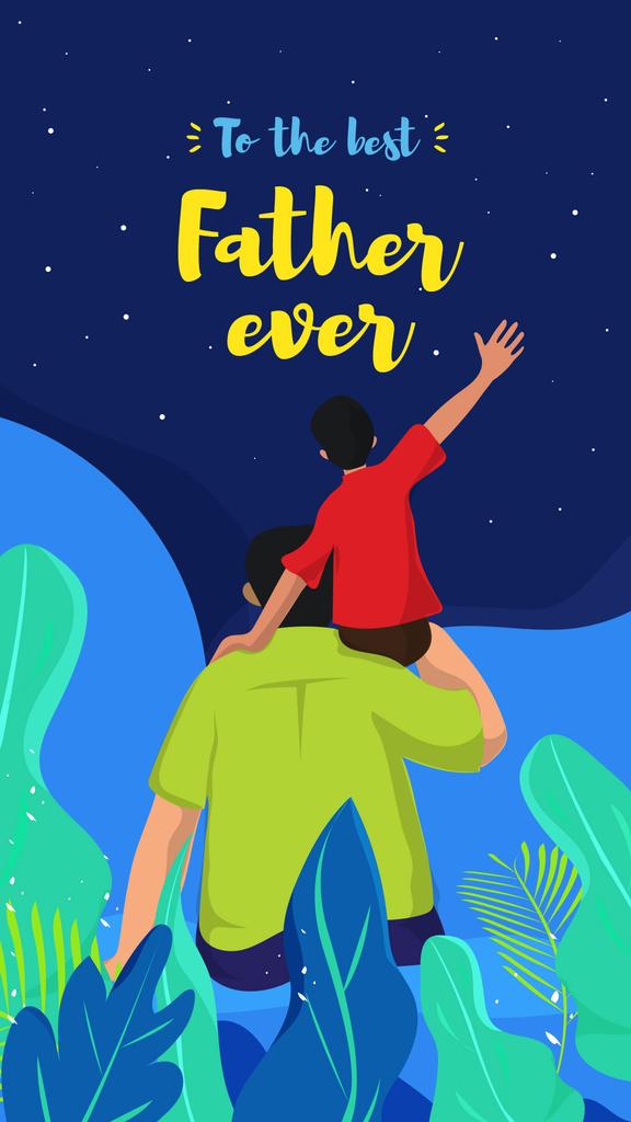 Plantilla de diseño de Father holding child on Father's Day Instagram Story