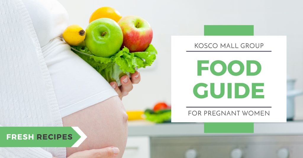 Pregnant woman holding healthy food — Create a Design